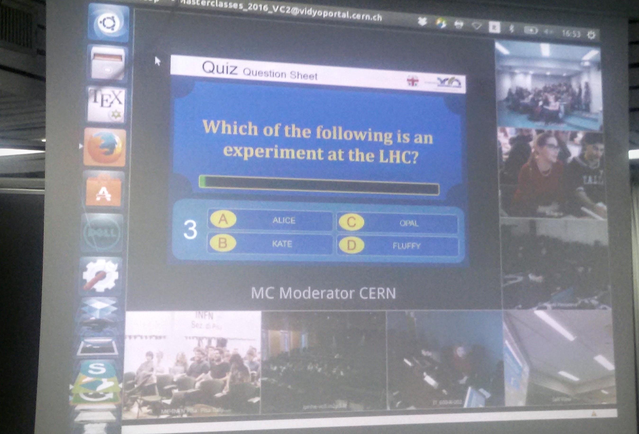 Il Quiz finale in collegamento con il CERN